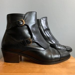 J.Crew Collection Black Monk Strap Chelsea Boots